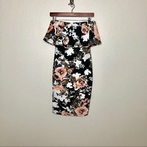 Forever 21 Ladies Floral Backless Bodycon Dress